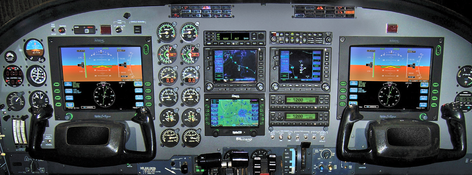 As shown here, the Alliant Retrofit for the Cessna 441 Conquest II includes Avidyne's Envision Integrated Flight Deck System and the S-TEC 2100 Digital Autopilot. Alliant is also available with an RVSM option for operators who fly the aircraft above 29,000 feet.