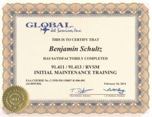 Benjamin Schultz RVSM Certificate