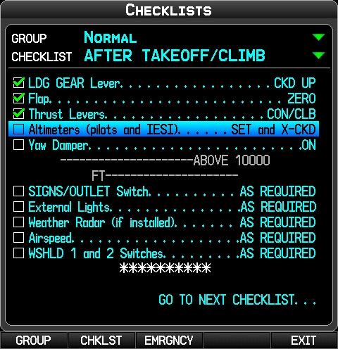 Checklist from Garmin