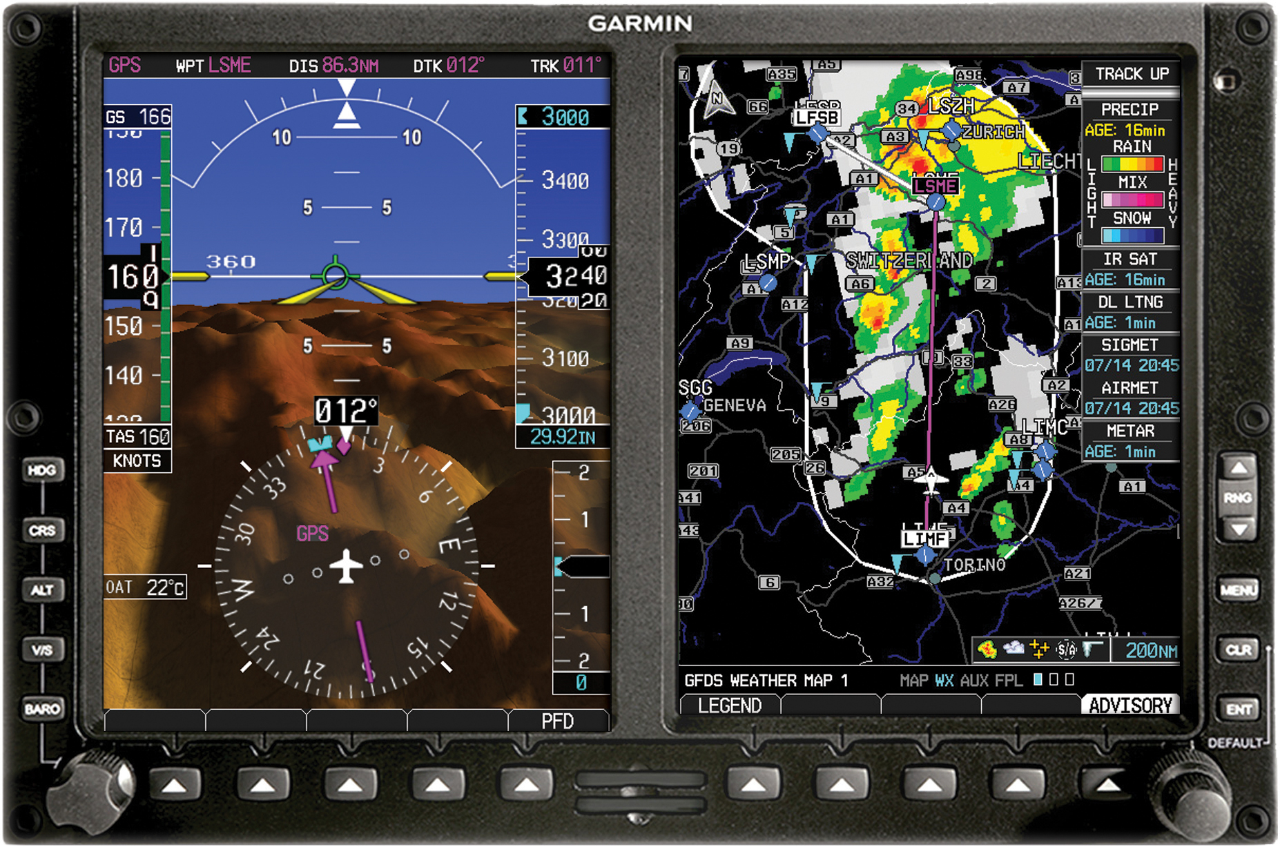 Garmin G600 PFD/MFD with Synthetic Vision. Click to enlarge.