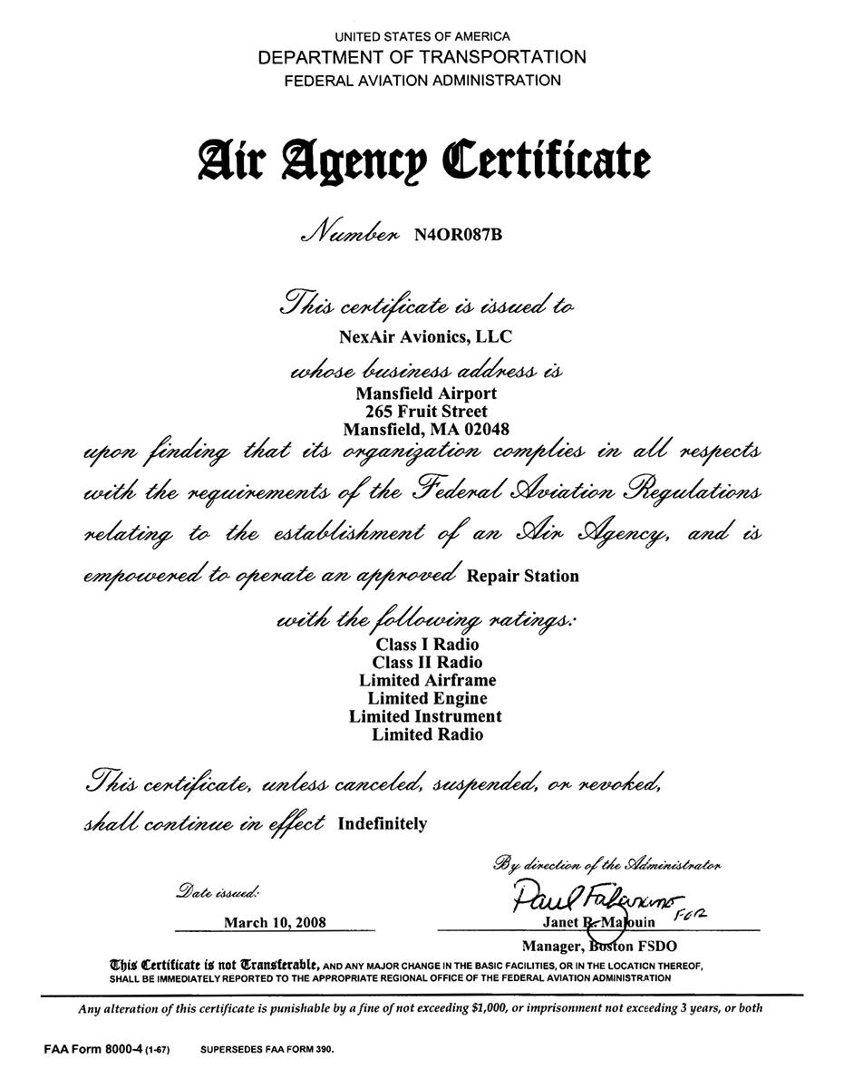 NexAir Repair Station Certificate N4OR87B