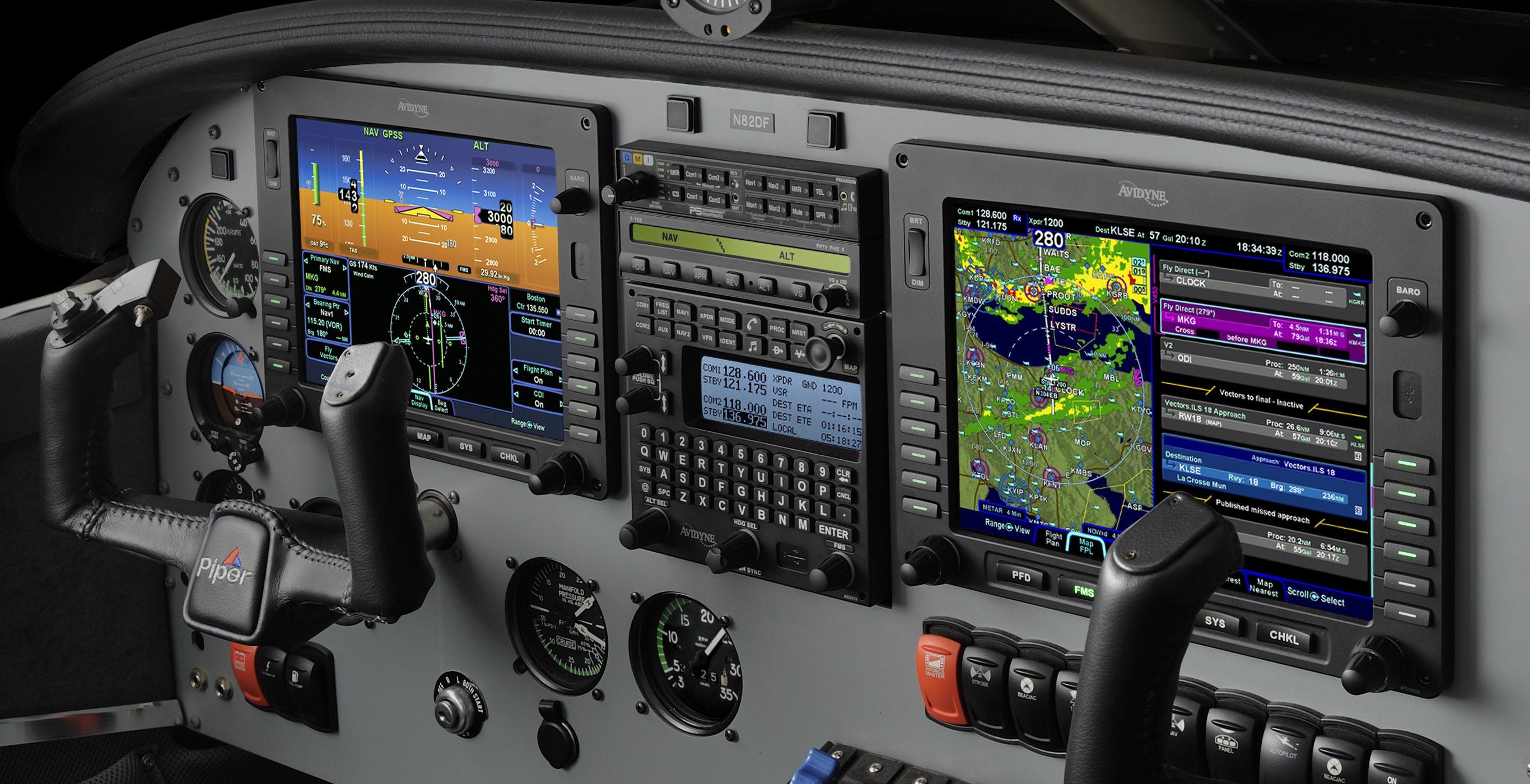 NexAir's installation of a complete Avidyne Entegra Release 9 Integrated Flight Deck in a Piper Saratoga, N82DF.