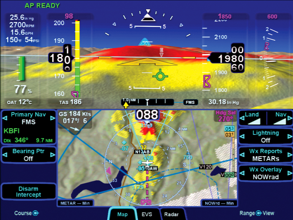 Synthetic Vision on an Avidyne Entegra Release 9 Integrated Flight Deck.